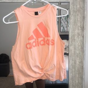 Adidas workout tank with knot detail